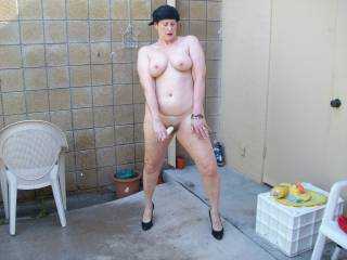 my wife masturbating outside