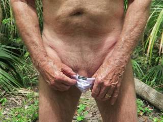 Mr. Floridaman trying on his new white undies--they fit pretty well when he\'s totally flaccid.  From Mrs. Floridaman
