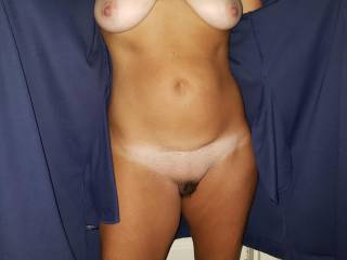 Hubby was leaving for work and I ran out to the garage and flashed him. I didn\'t know his friend was there, he liked what he saw. Hubby invited him over after work for a couple of drinks and to fuck me. He is now a true fuck buddy for us.