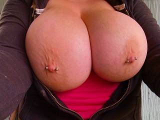 My gf's huge natural tits outside.