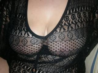 Wife's big tits in new top. What would you do to them ?