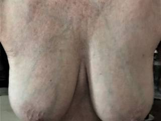 I hope you all enjoy this view of my wife\'s big breasts. I always love the view.
