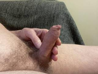 You can see how flaccid I am by the overhang of foreskin.