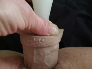 And buried! Hubby loves to get pics of me stretching my pussy with a big dildo. How hard do you think he got at work after these?