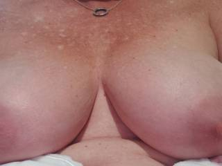 Mrs big wonderful tits and pointy responsive nipple, who wants to play with her fun bags with me. Better still who would like to spray them with their cum?