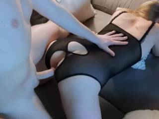 Sensual love making from behind w sexy lingerie :)