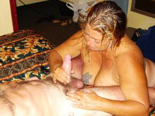 deb still working him, she is such a hard worker she will stay till the job cum out right