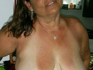 Hubby loves showing off my titties.