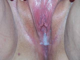 WOW great creampie in a great pussy  I am sure there would be a linup to suck that slit clean  But let me be first Then dump my cum for the next guy then do this over and over and over    Sorry that was my fantasy    Thanks for sharing suck a HOT picture
