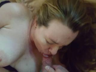 Really bearing down on Hubby's fat cock... anyone else wanna feed me their cum?