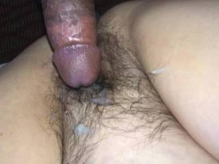 Cumming on the wife's hot hairy pussy