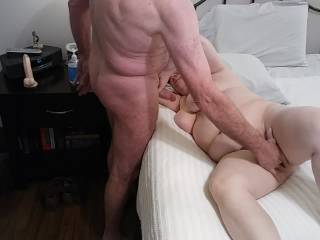 Look how hard that cock is! I need to suck it while Hubby strokes my pussy. Check out my video to see how great things turned out!