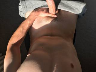 Topless in the sun with my hard cock out … thoughts?