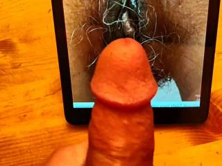 Cumming all over Lookingforfun9\'s natural hungry hairy pussy.