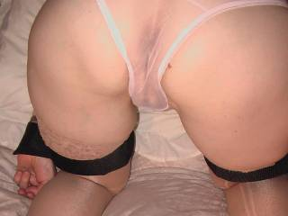 Looks great! Love to fel that sexy looking pussy through those see through knickers. And hope to feel it get wetter and wetter