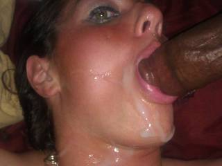 What a turn-on it must have been, seeing her penetrated by such a huge cock!  Hope she got to take it in her pussy too.