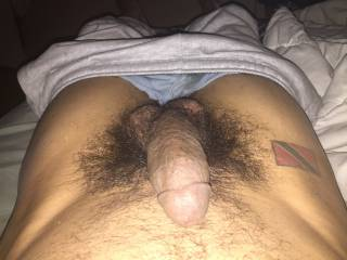 Lying down with my thick hard cock out