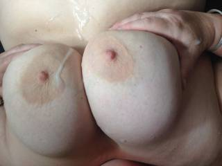 I just had to cum over my wife\'s big boobs and any comments we would love to read and should anyone like to add their big load of hot spunk please let us know mmmm
