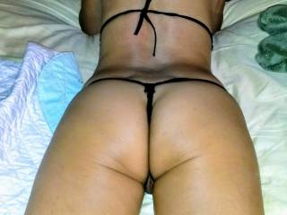 Asian gf in string thong... opening up for anyone who wants a taste? ;-)~