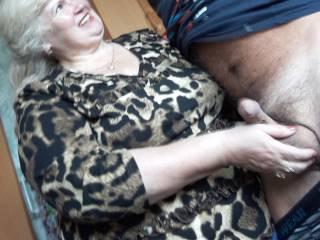 Granny checks my balls cum count