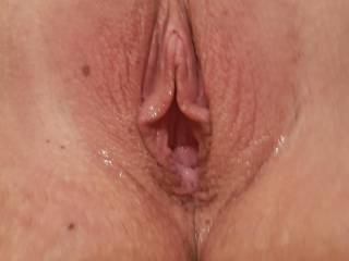Wife\'s open pussy after using her huge dildo