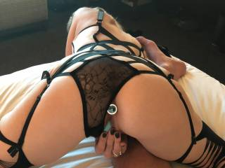 My wife showing that awesome ass with her anal plug and her Bluetooth vibrator that she had in her while we were down in the casino playing games I could control it with my phone then she cane up to me and handed me her panties and said it was time to go
