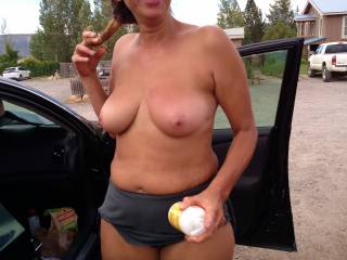 Took a trip today the hot springs , My husband assured me it would fine to just change in the car of coarse all doors wide open here I\'m digging for my bikini and lotion completely naked. I find everything then ask my husband to lotion my back .