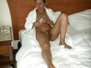 She looks like she is waiting for a few Big Cocks to fuck her slut whore cunt!