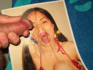 enjoying the view of my hot cum splashed over jen4sperm while i massage the last drops out onto her sweet face   >:)