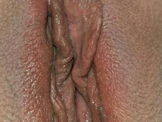 Mmmmmmmm your bald, wet pussy looks absolutely delicious and my mouth is literally watering just looking at it!!  My hard white cock is craving to slip inside your hot pussy after I lick and eat you until you cum all over my face!!