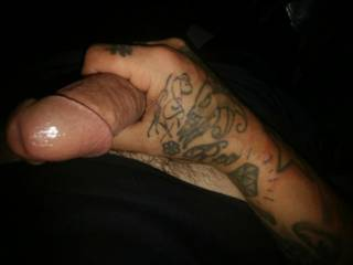 Me w cock in hand......again.......maybe I'll tattoo my dick too any ideas