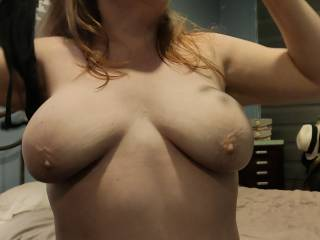 Taking it off off as I want you to suck on my tits while you thrust that cock of yours into me. Check out my hard nipples. They need your loving right now!