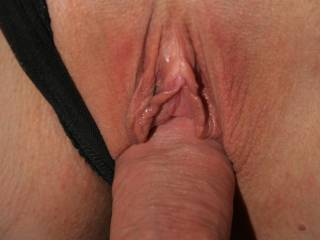 I love to push my cock just inside chel\'s wet pussy to tease her :)