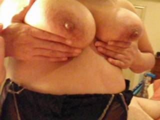 I took a break from slapping and stroking hubby\'s cock to play with my tits for him!  Do you like?