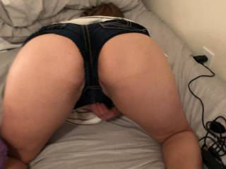 Mrs.A showing off her sexy ass in some cut off shorts I've been trying to get her to wear them when we go out just love how she can make every head turn when she walks by