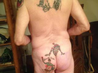 This shot shows all of the tattoos on my back and ass.  I got these between ages 65 and 67.