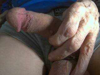 my morning semi. any  ladies want to play with it and get it fully erect?