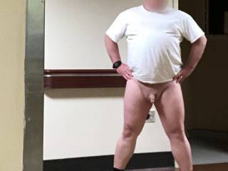 Out in the hallway with no pants on!
