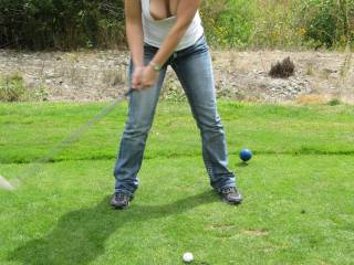 Well have made me have a stiff shaft and my white balls are ready to be rubbed and perhaps given a lick or two before i try and get in the hole - the old farts at my golf club would have a fit were you there - they wouldnt even notice the tits hanging out (forgotten what to do with those) but they would be apoplectic at the sight of denim on the tee! hahahaha