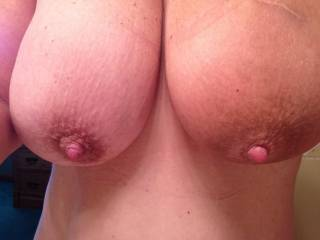 My big thick cock will be right at home between your huge tits! And my huge,hot load will be right at home covering those big beauties! I can see it now, long strings of cum hanging from your big hard nipples! Amazing tits!