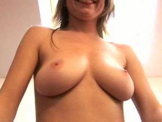 Great set of tits. How bout two hands pinching your nipples and my tongue fucking your pussy :)