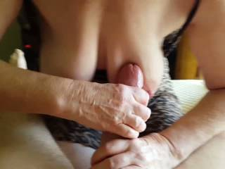 Great vid, a very lucky and nice big cock, as for your wife, she wanks you so well, mmm would love to be next, love her beautiful boobs, xxxxx,s.