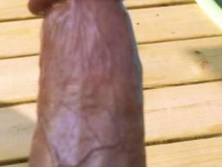 Oiled dick by the pool. Who would like to slide right on it?