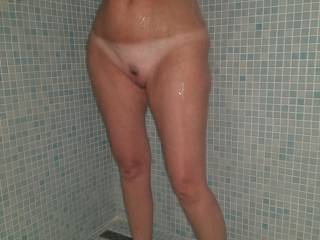 Cleaning my tits and pussy in this big shower