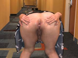 Mooning in the hotel hallway