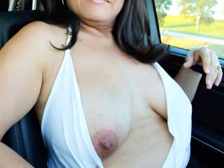 Pulling my tit out in the car!