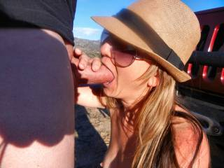 Prepping my hubby for some outdoor sex, got him nice and hard for the rest of my holes ;)