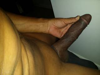 I'd enjoy licking that cock....mmmmm, I like chocolate, and  cream....cock cream.  Such a gorgeous cock.  MILF K