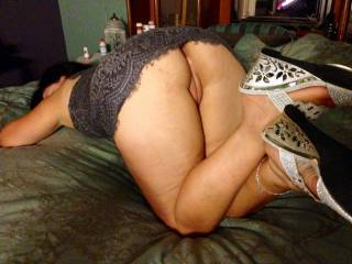 Nice shoes and juicy pussy and I'd love to eat your pussy and ass I'm hard and stroking it thanks for the visual aid