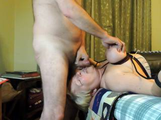 Sucked him hard until he came.  Loved to have my tits squeezed.